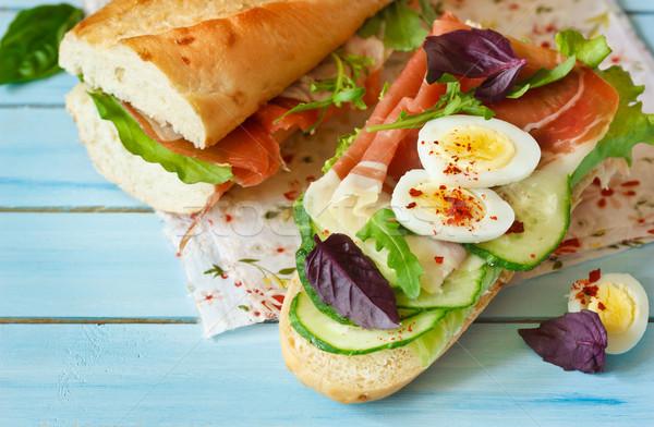 Foto stock: Frescos · casero · sándwich · sabroso · jamón · huevo