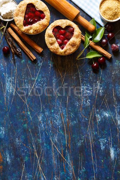 Mini cseresznye piték hozzávalók főzés hely Stock fotó © lidante