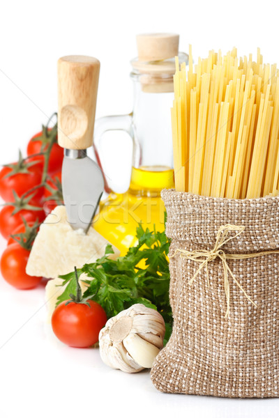 Spaghetti, cheese and vegetables. Stock photo © lidante