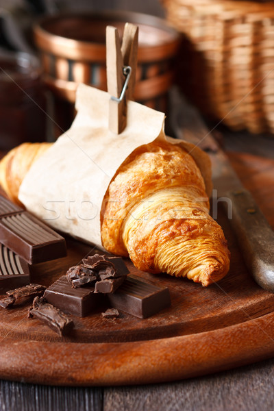 Croissant friss csokoládé reggeli étel kenyér Stock fotó © lidante