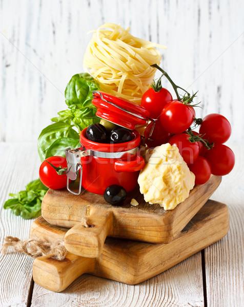 Comida ingredientes tradicional comida italiana fresco macarrão Foto stock © lidante