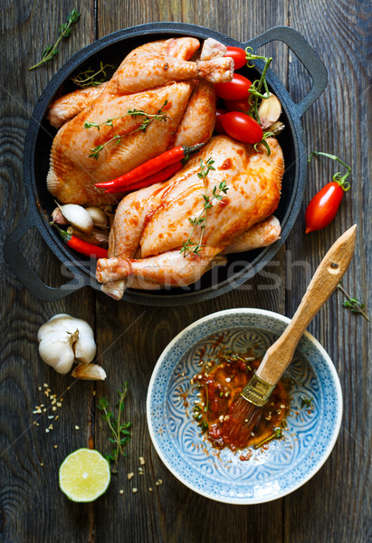 Fresco frango preparação ervas temperos Foto stock © lidante