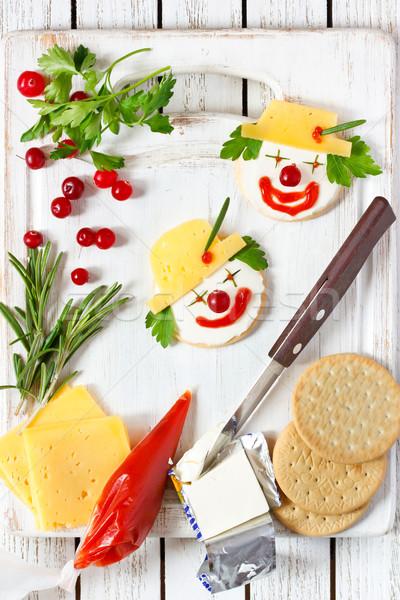 смешные сыра клоуна два детей завтрак Сток-фото © lidante