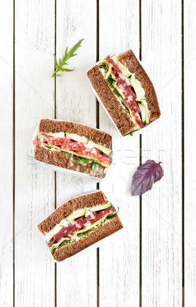 Salami rye bead sandwiches. Stock photo © lidante