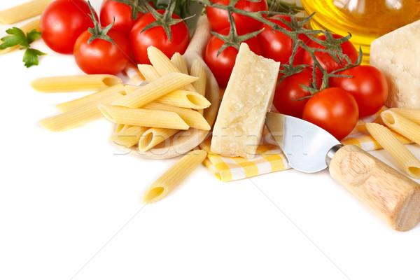 ストックフォト: パスタ · ディナー · イタリア語 · チェリートマト · 白