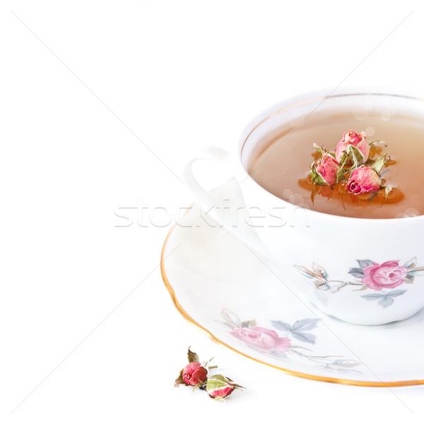 Roses thé bokeh blanche fleur Photo stock © lidante