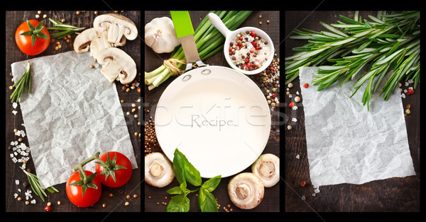Stock photo: Vegetables and spices.