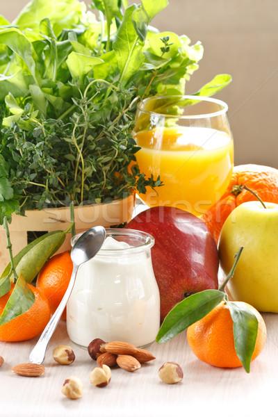 Fruits maison yaourt belle déjeuner pomme Photo stock © lidante