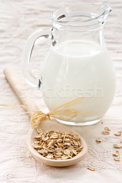 Zab pelyhek tej fakanál étel csoport Stock fotó © lidante