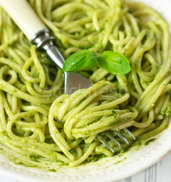 Spaghetti with pesto. Stock photo © lidante