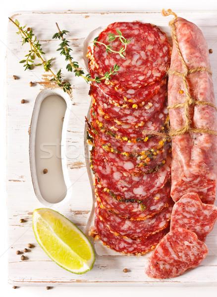 サラミ スパイス 白 まな板 食品 ストックフォト © lidante