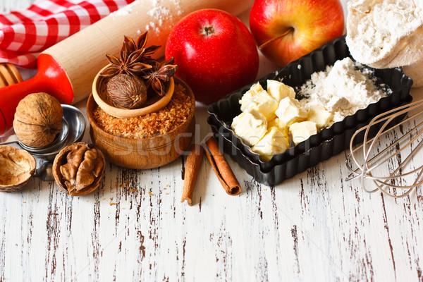 Appeltaart ingrediënten koken vers rode appel boter Stockfoto © lidante