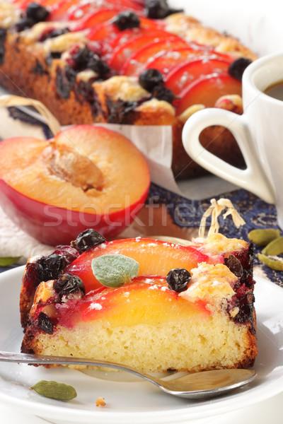 Fruitcake pruimen kardemom voedsel koffie Stockfoto © lidante