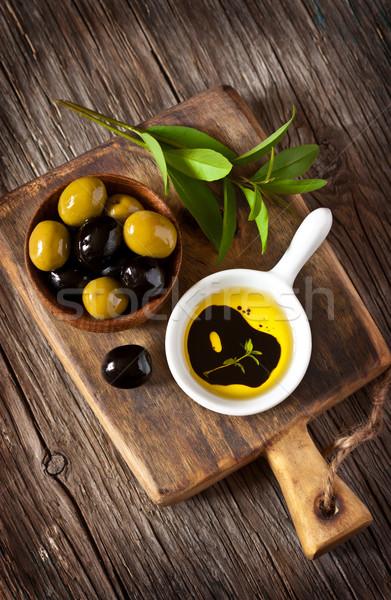Azeitonas verde azeitonas pretas azeite vinagre balsâmico Foto stock © lidante