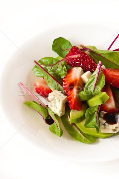 Salata lezzetli rokfor çilek balsamik sirke gıda Stok fotoğraf © lidante
