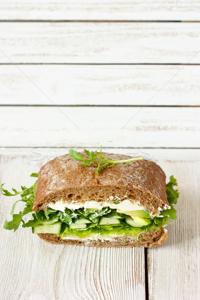 Saine vert sandwich soft fromages avocat Photo stock © lidante