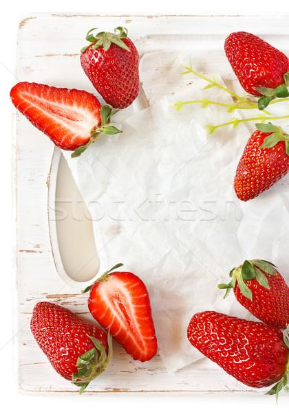 Aardbei frame vers rijp aardbeien witte Stockfoto © lidante