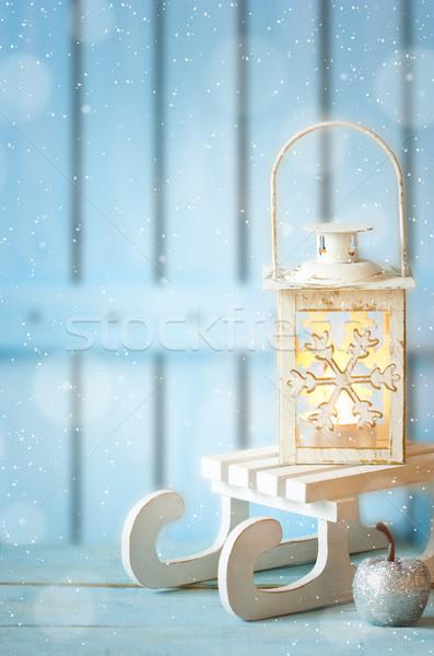 Karácsony égő lámpás fehér dekoráció kék Stock fotó © lidante