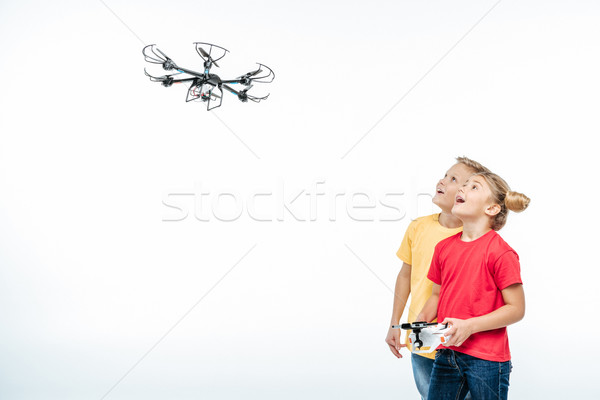 kids playing with hexacopter drone  Stock photo © LightFieldStudios