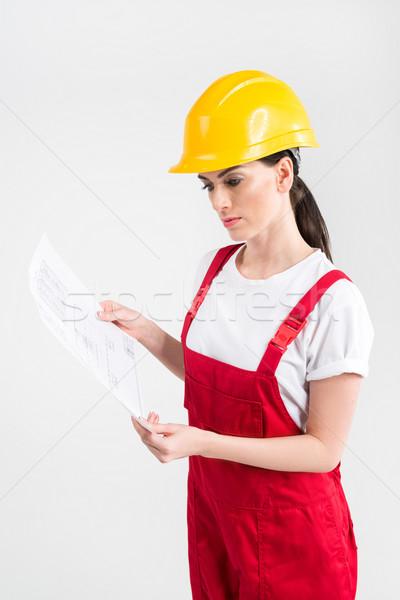 Female engineer in helmet Stock photo © LightFieldStudios