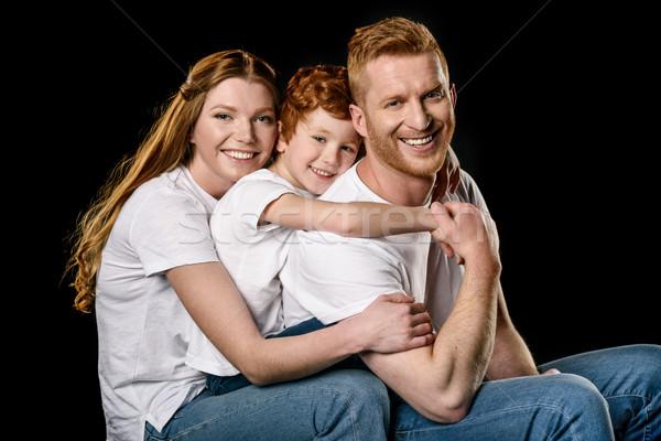 Portré boldog család fehér ölel egyéb izolált Stock fotó © LightFieldStudios