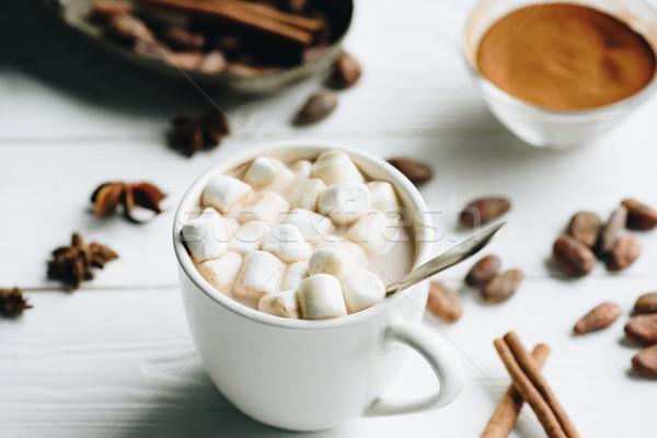 Csésze kakaó mályvacukor szelektív fókusz édes kanál Stock fotó © LightFieldStudios