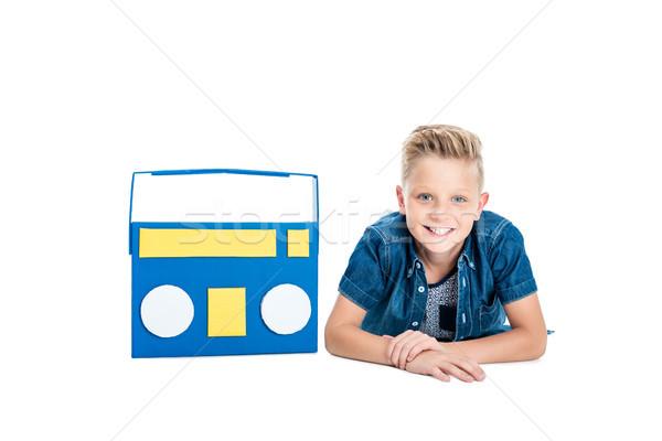 boy with paper tape recorder Stock photo © LightFieldStudios