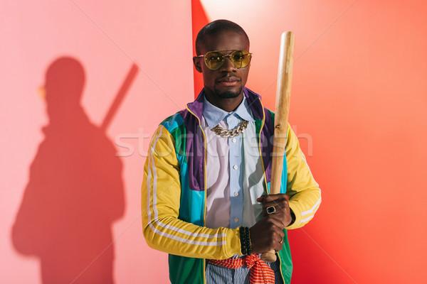 Afro-amerikaanse man bat jonge stijlvol Stockfoto © LightFieldStudios