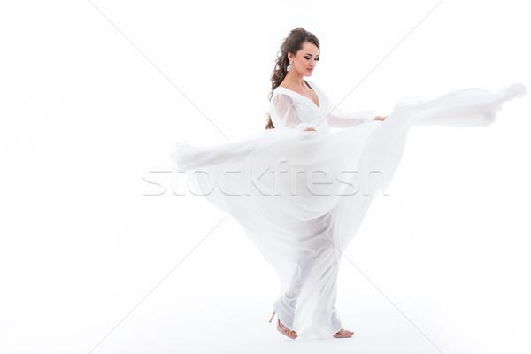 Gyönyörű elegáns menyasszony tánc esküvői ruha izolált Stock fotó © LightFieldStudios