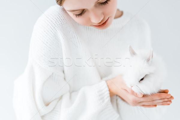 Tiro menina branco peludo rabino Foto stock © LightFieldStudios