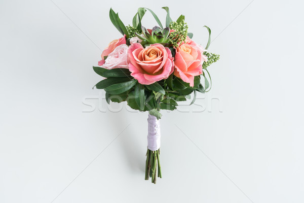 Close-up view of beautiful bouquet of roses and succulents isolated on white Stock photo © LightFieldStudios