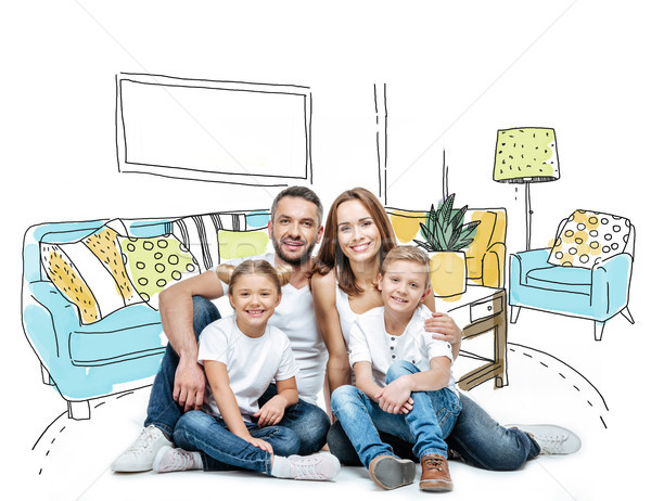 Stock photo: Happy family sitting together