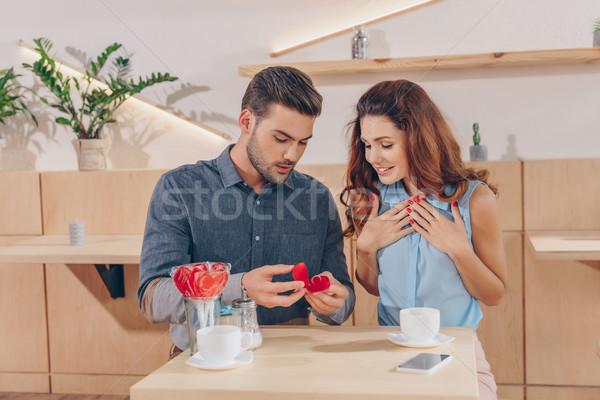 Homem proposta namorada retrato feliz Foto stock © LightFieldStudios