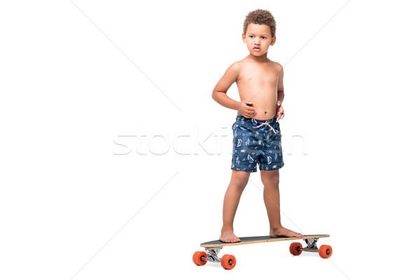 african american kid on longboard  Stock photo © LightFieldStudios