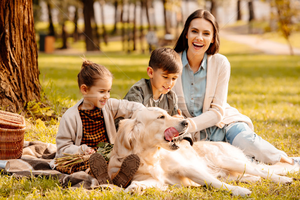 Children and mother petting dog in park Stock photo © LightFieldStudios