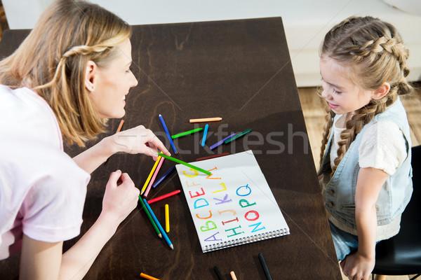 Boldog anya lánygyermek rajz tanul ábécé Stock fotó © LightFieldStudios