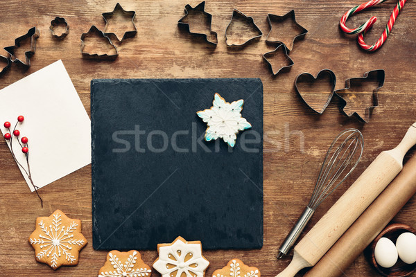forms and ingredients for christmas cookies Stock photo © LightFieldStudios