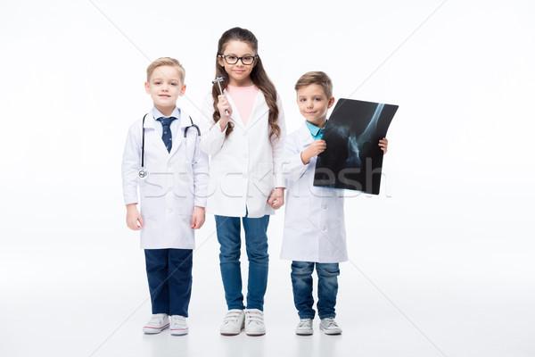 Enfants jouant médecins stéthoscope réflexe marteau xray Photo stock © LightFieldStudios