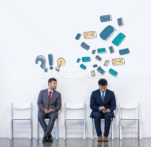 ビジネスマン 座って チェア スーツ 白 待合室 ストックフォト © LightFieldStudios