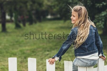 child sitting on fence at countryside  Stock photo © LightFieldStudios