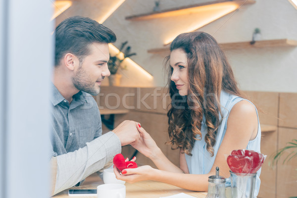 woman with engagement ring Stock photo © LightFieldStudios