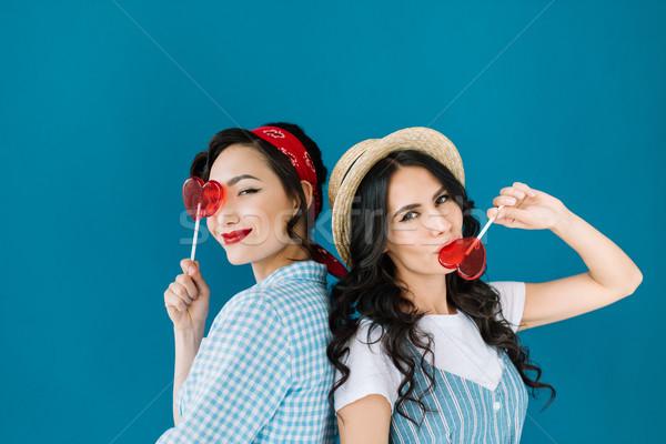 multicultural women with lollipops Stock photo © LightFieldStudios