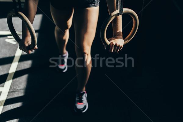 Kadın jimnastik halkalar atış Stok fotoğraf © LightFieldStudios