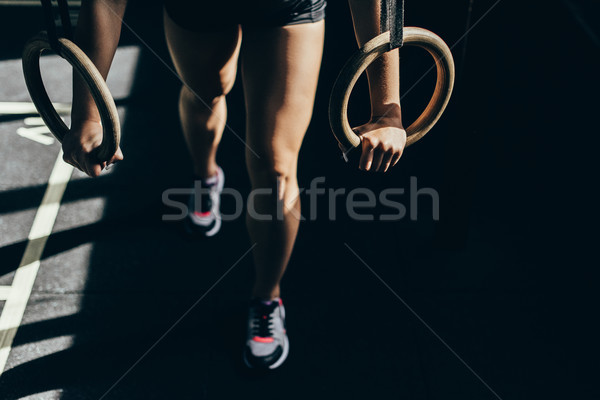 Nő gimnasztikai gyűrűk lövés sportos sportoló Stock fotó © LightFieldStudios
