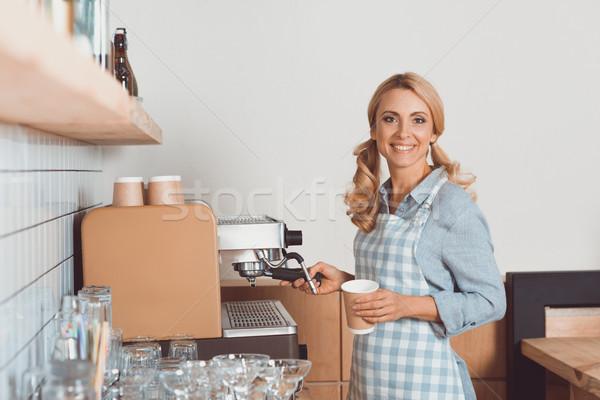 barista with coffee machine Stock photo © LightFieldStudios