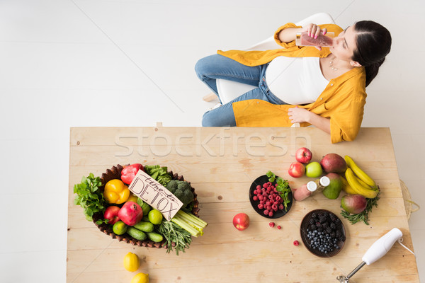 pregnant woman drinking detox Stock photo © LightFieldStudios