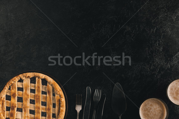 Photo stock: Berry · tarte · argenterie · maison · verres · cacao