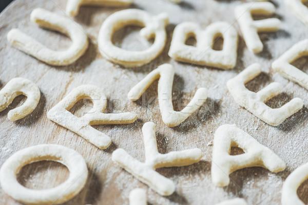 Widoku litery cookie mąka Zdjęcia stock © LightFieldStudios