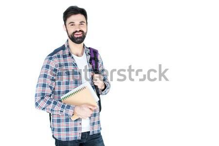 Bärtigen Studenten halten isoliert weiß Kopie Raum Stock foto © LightFieldStudios