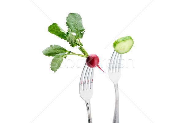 Uborka retek izolált fehér egészséges életmód étel Stock fotó © LightFieldStudios